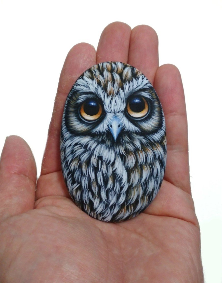 Amazingly realistic owl rock painting