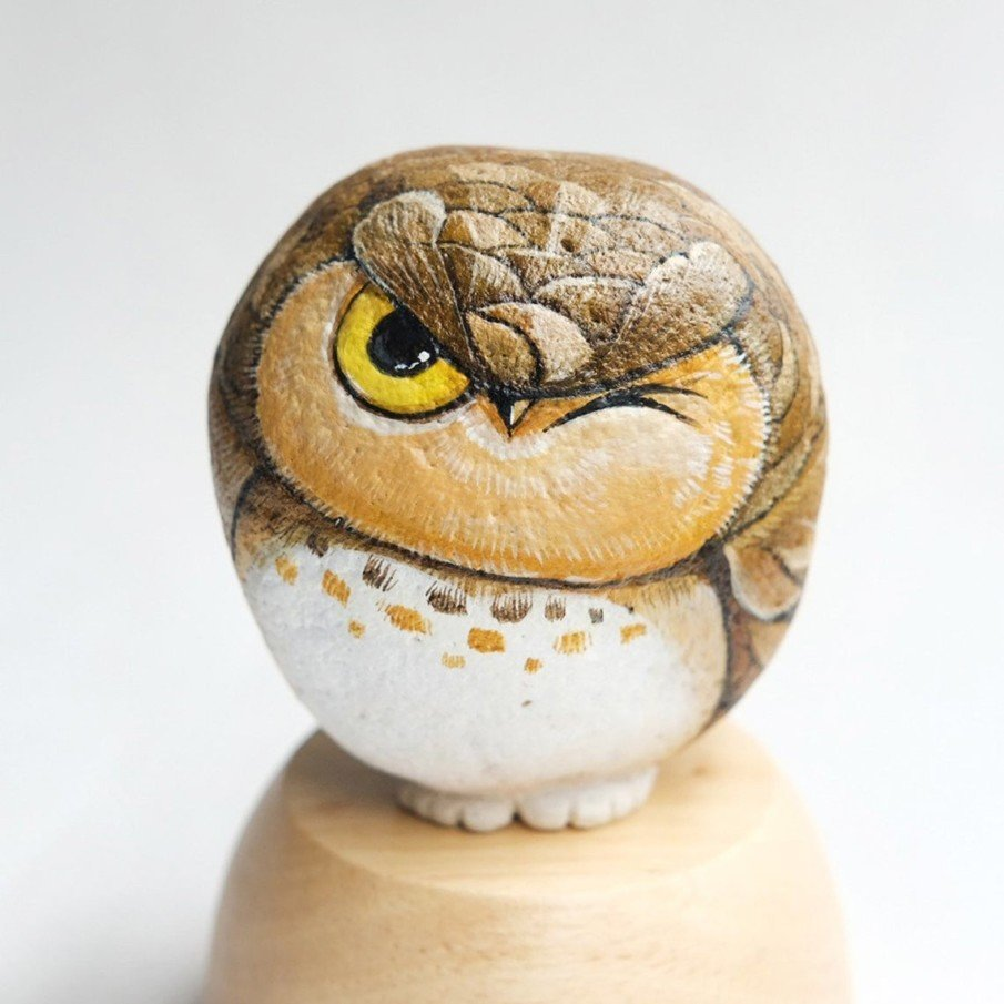 Stone Art Owl Painting in Acrylic Colors