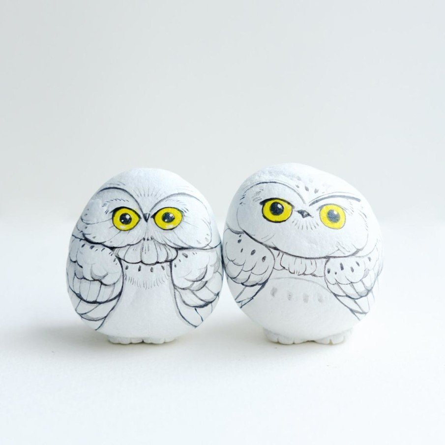 Snowy owl rock paintings with yellow eyes