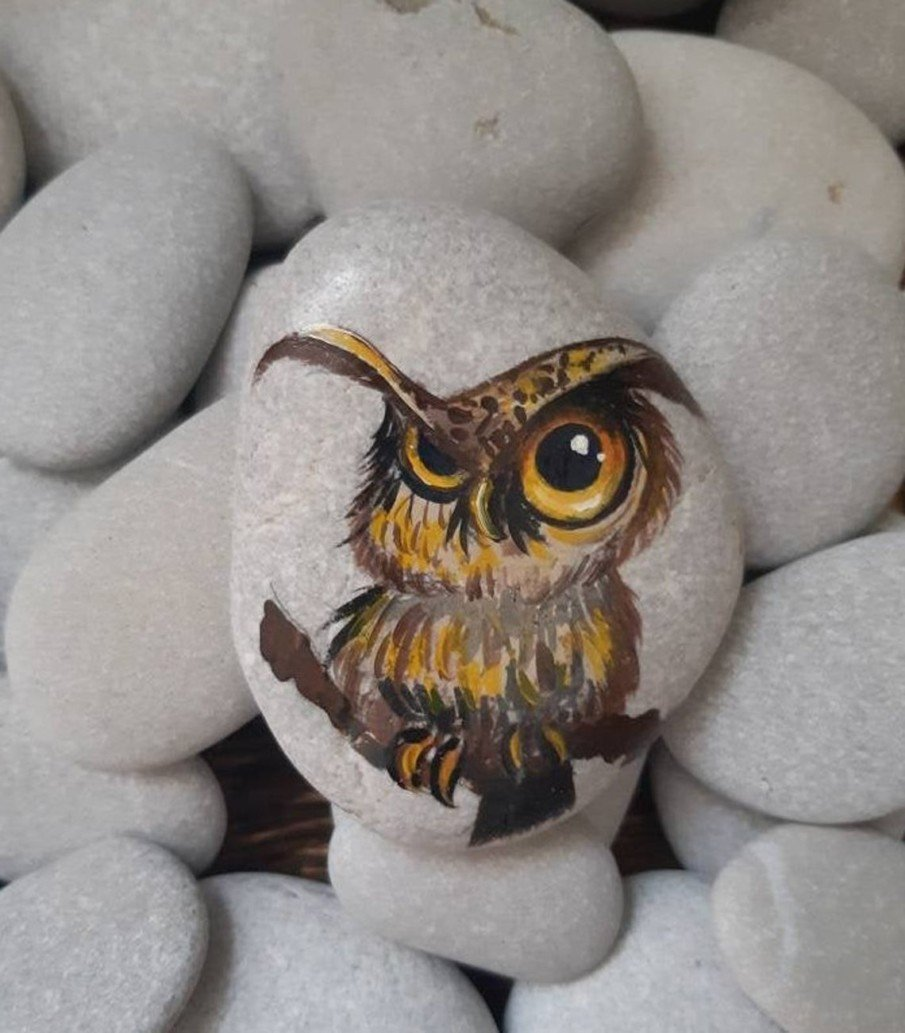 Grumpy Owl Stone Painting - home decor