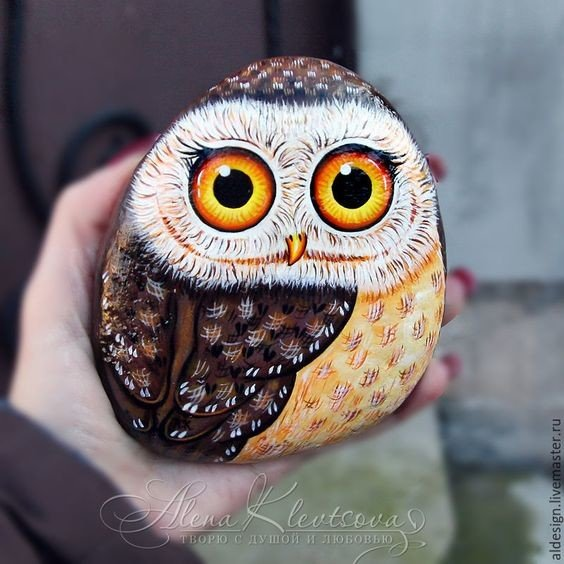 Big eyed owl painted rock