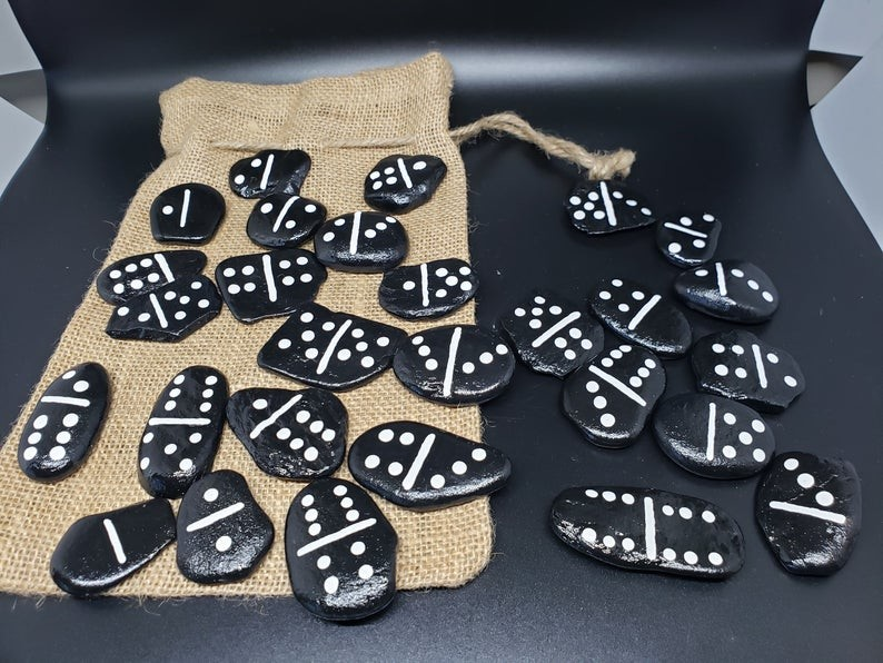 Black and White Painted Rocks that look like dominos