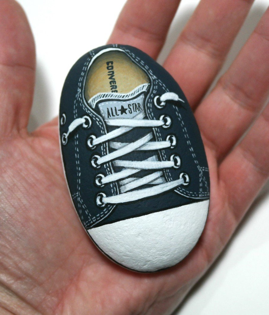 Black and white painted rocks ideas - the converse shoe painting