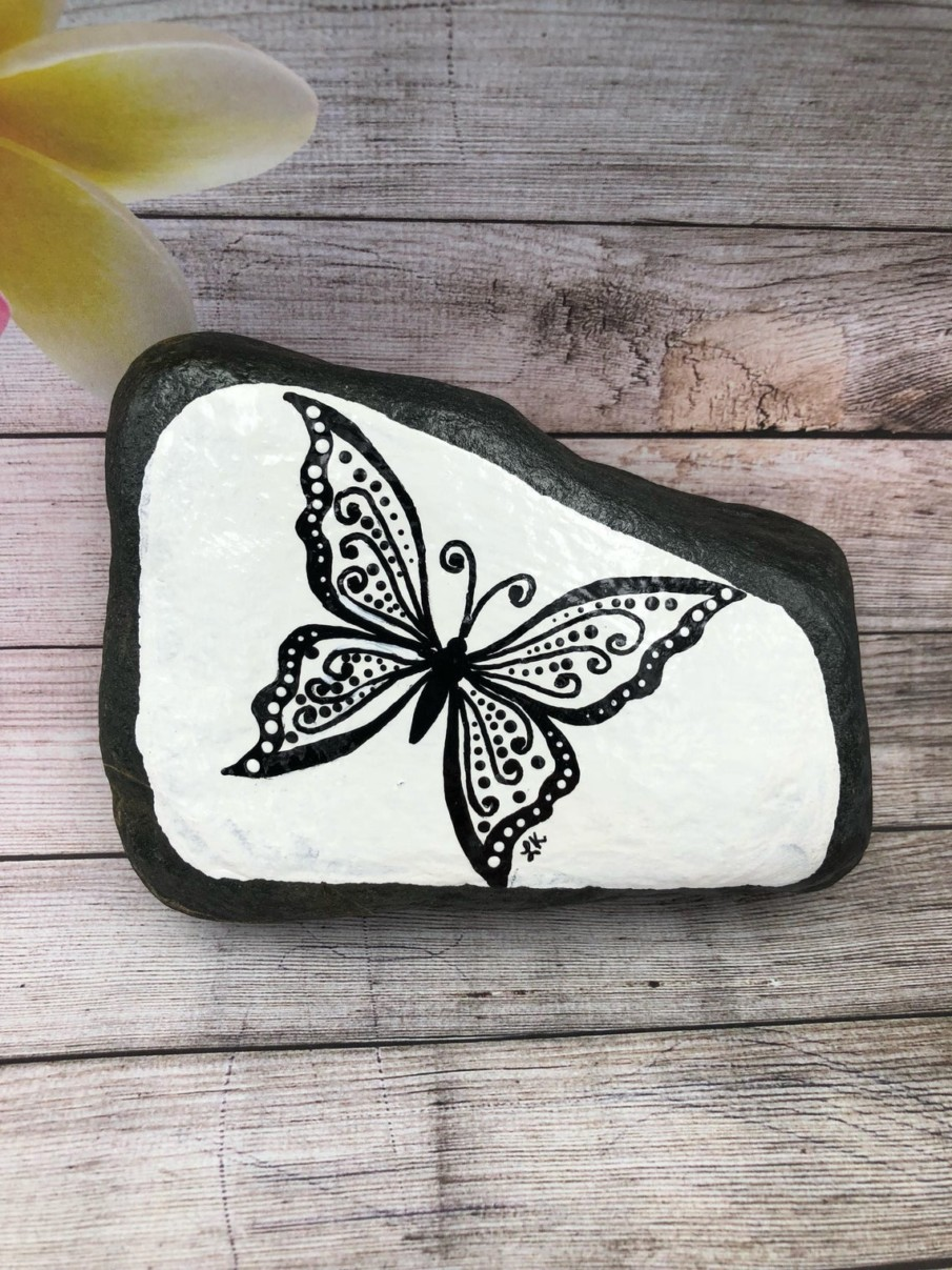 black and white painted rock ideas - butterflies