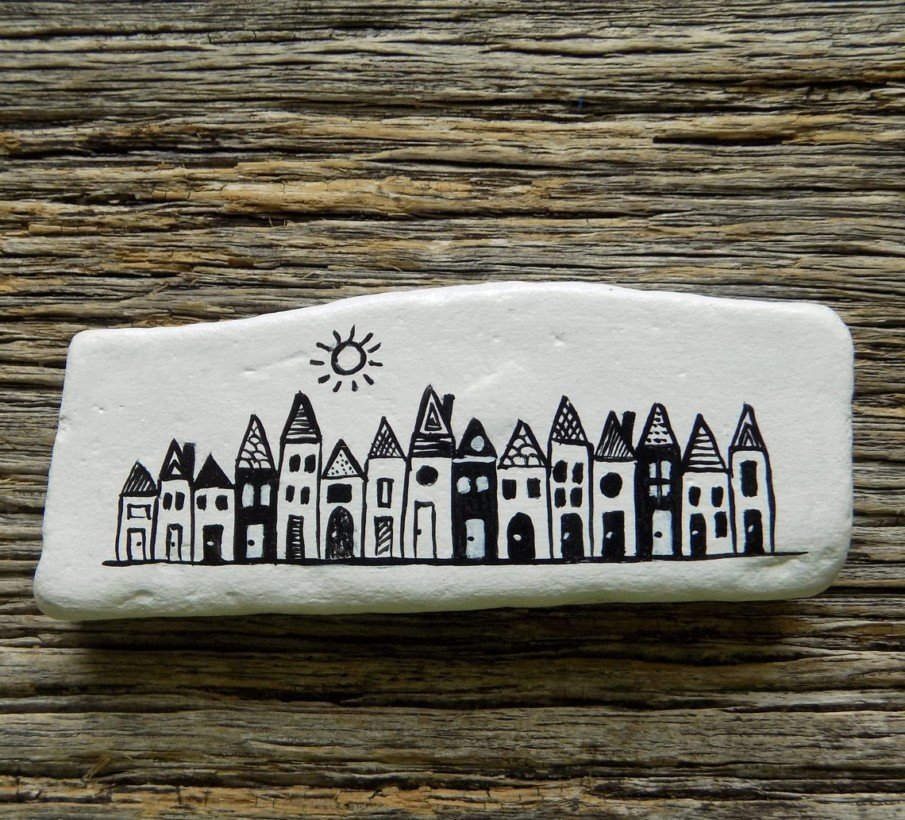 Black and white rock painting ideas for kids - easy house pictures