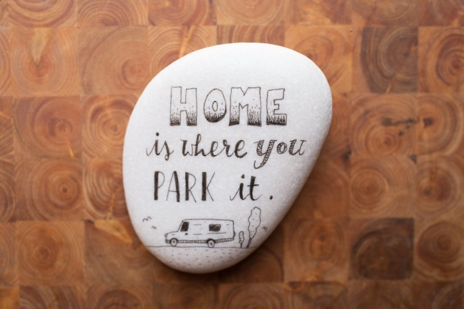 White pebble painting idea for RV enthusiasts