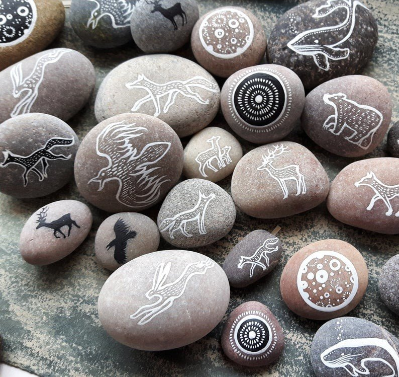 Black and white pebble painting ideas