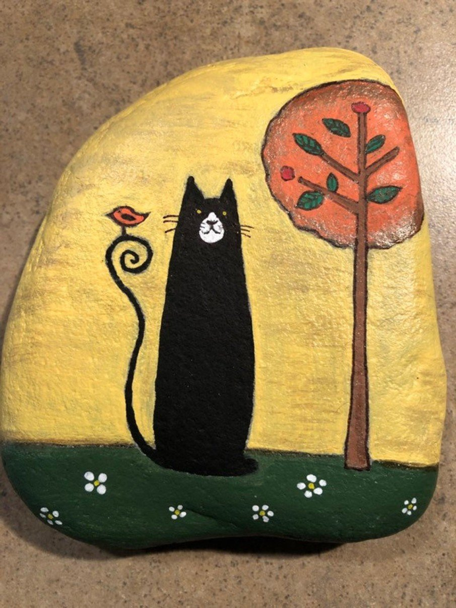 black cat painted rock