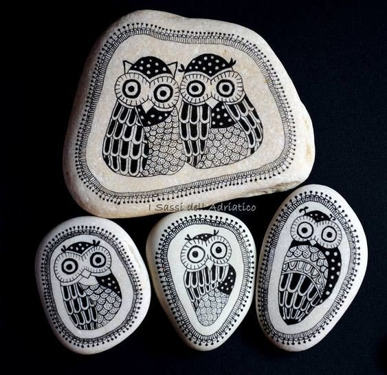 Black and White owl painted pebbles