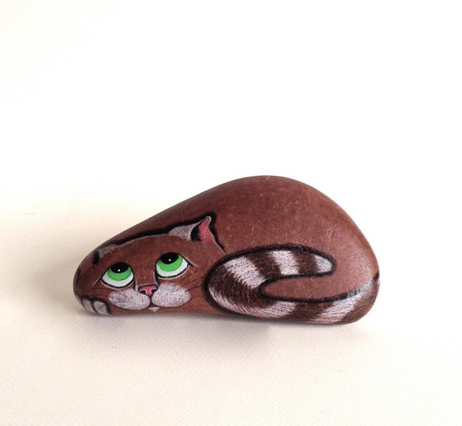 cat rock painting laying dark brown