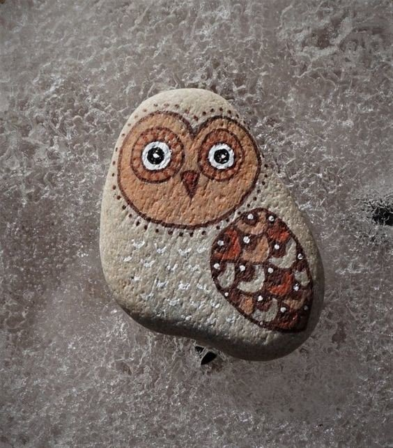 Easy DIY owl rock painting