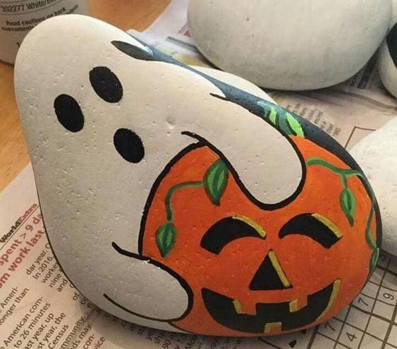 Ghost pumpkin painted rock