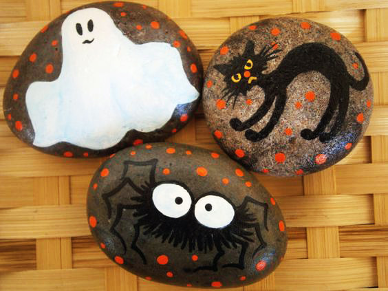 Painting rocks for Halloween