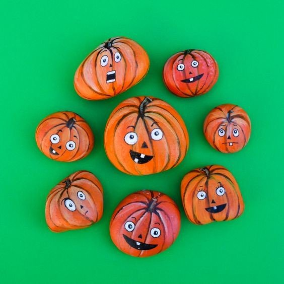 Easy Halloween pumpkins paintings
