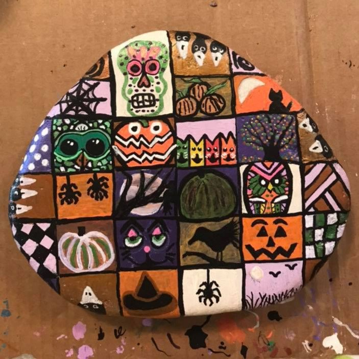 Halloween scary collage painted rock