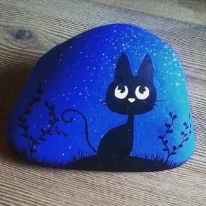 night kitty rock painting