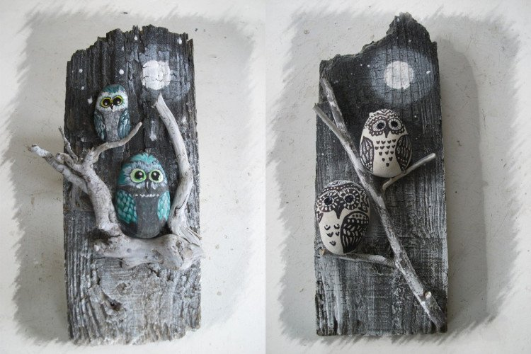 Owl painted rock art