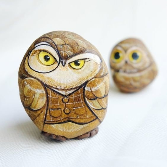 Wise Owl rock painting