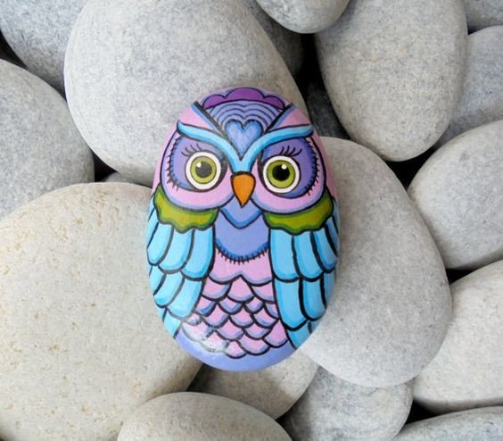 DIY rock painted owl