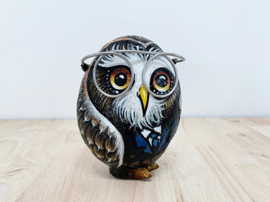 Wise owl in a glasses painted on rock