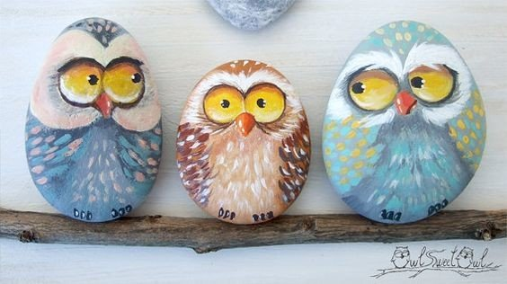 Winter owls painted rocks