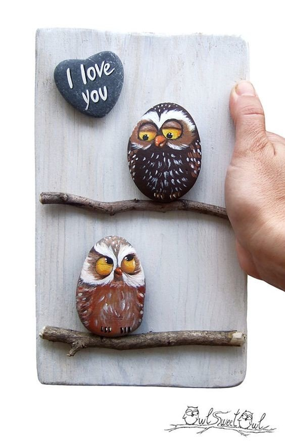 Rock painted owl art