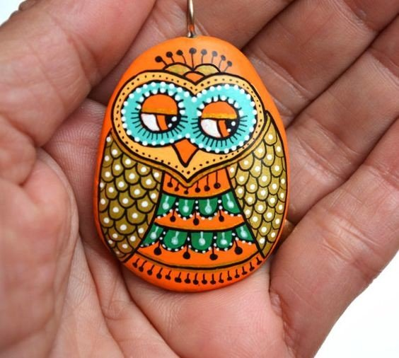 Owl painted rock pendant