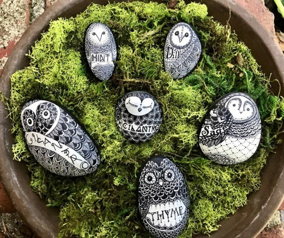 Black and white owl painted rocks - Owl Herb Marker Set
