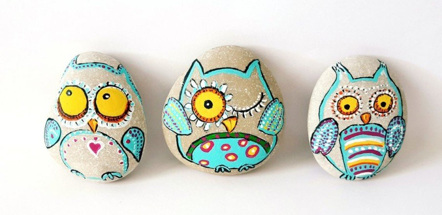 Pebbles painted owl art
