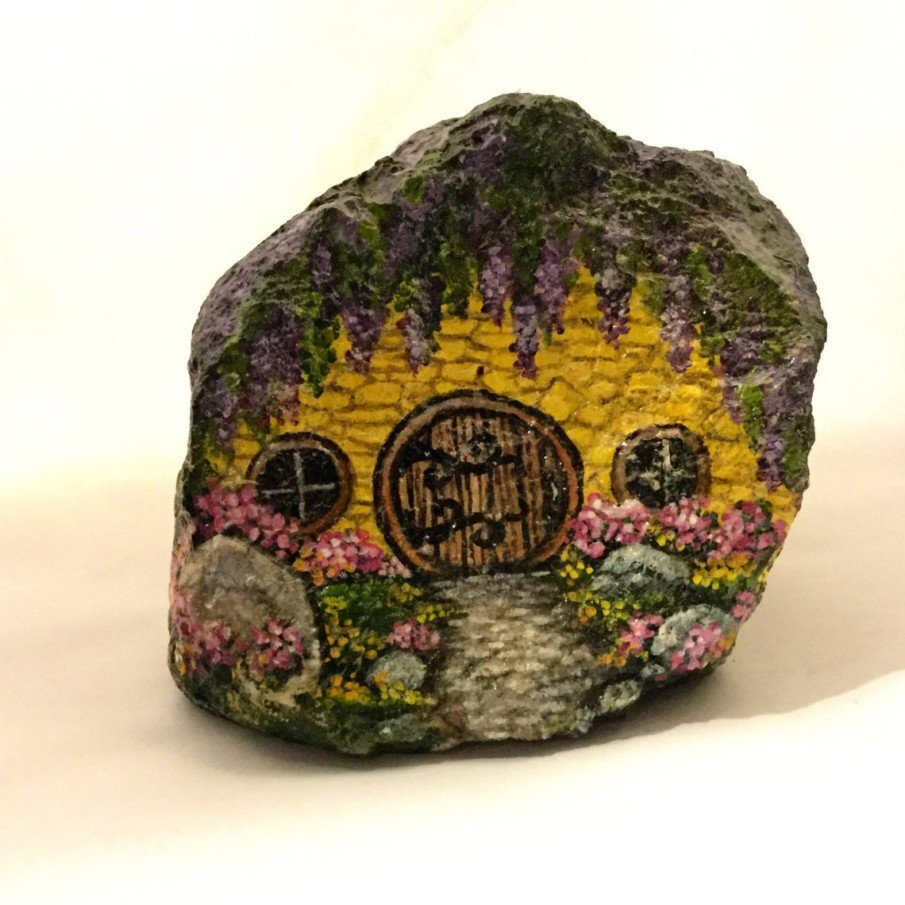 Small rock painting ideas for a garden cottage