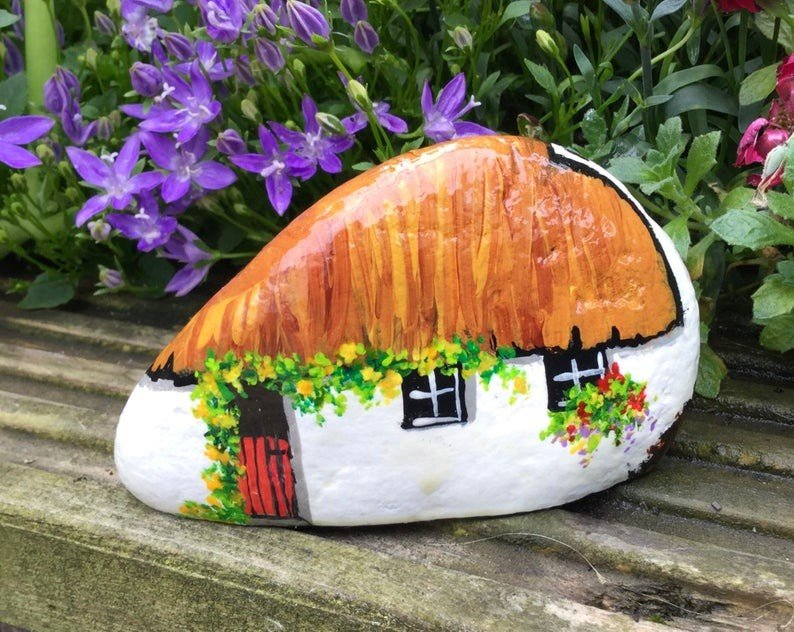 Irish Cottage painted rock