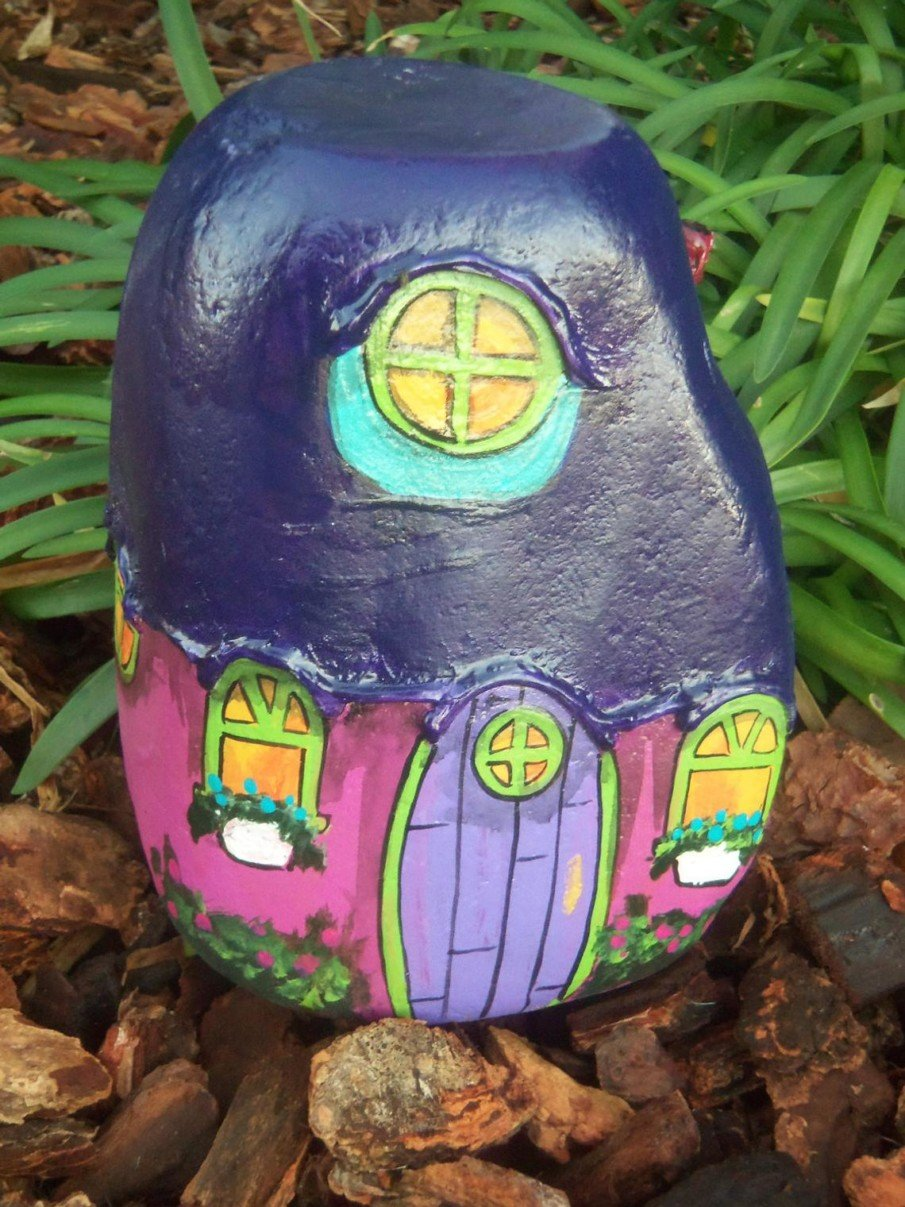 Purple and Pink Gnome Home Painted River Rock