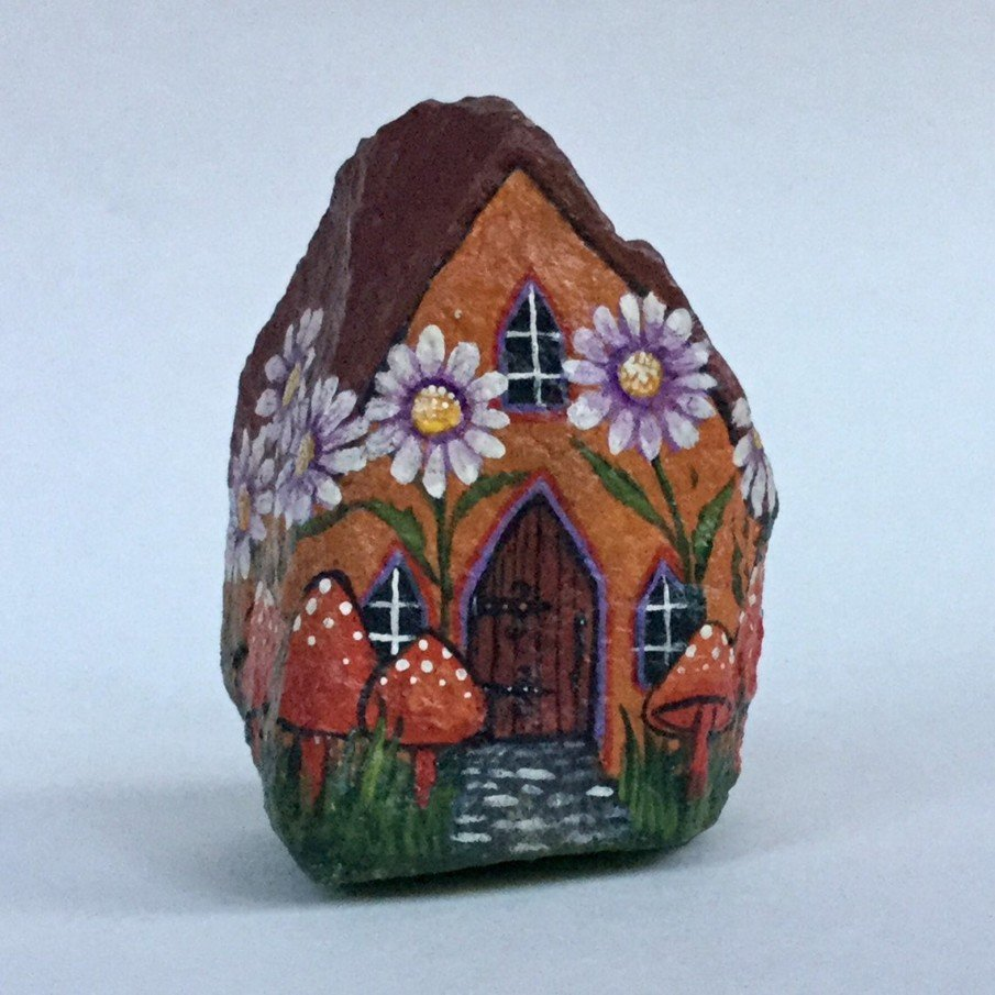 Hand painted rock art ideas - Little Orange Mushroom House