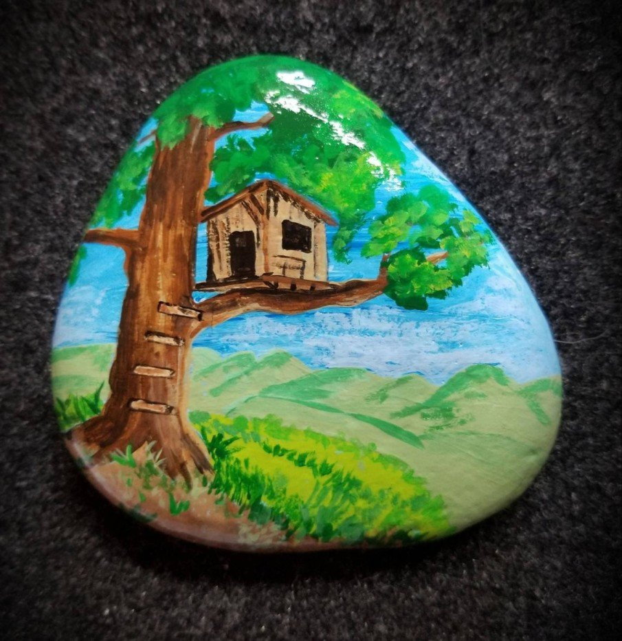 Treehouse painted on a rock