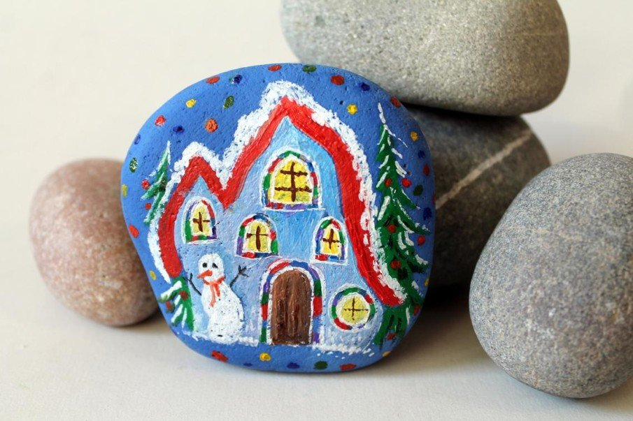 Painted rock as Christmas gift or Home Decor