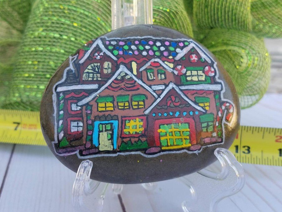 Hand-Crafted Gingerbread Painted Rock