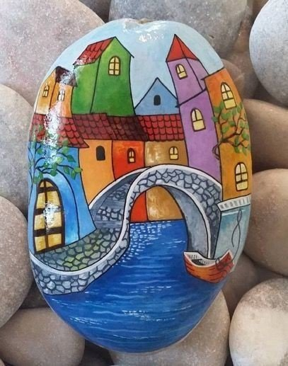 Rowhouses rock painting ideas