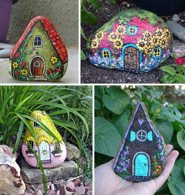 Rocks painted like houses