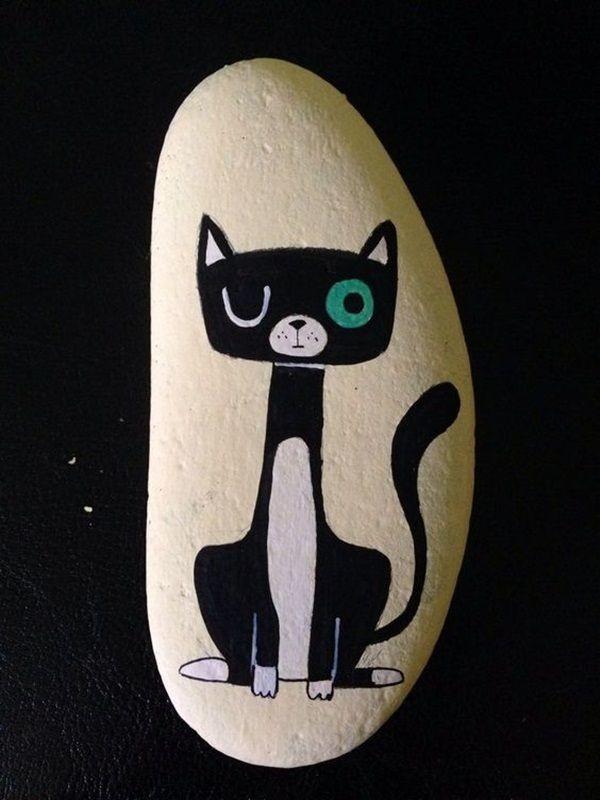 robot cat painted rock