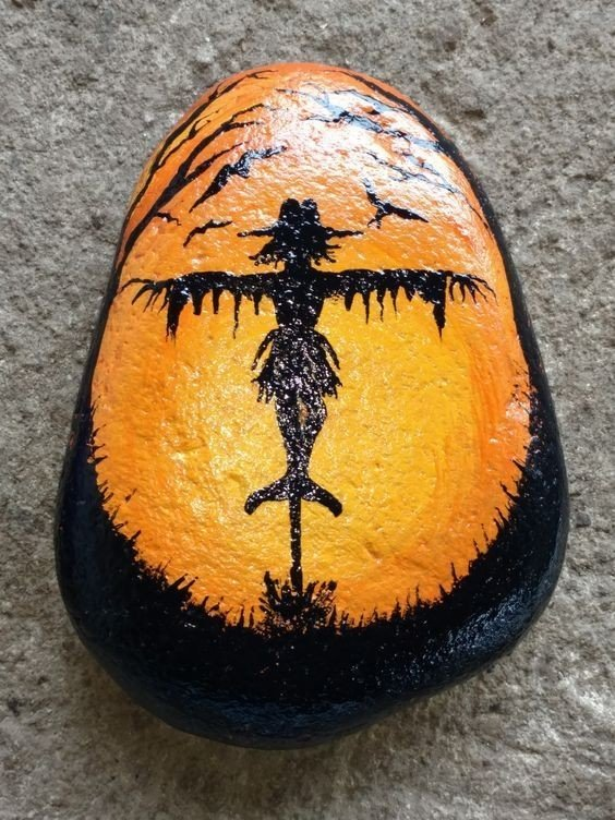 Scarecrow painted rock