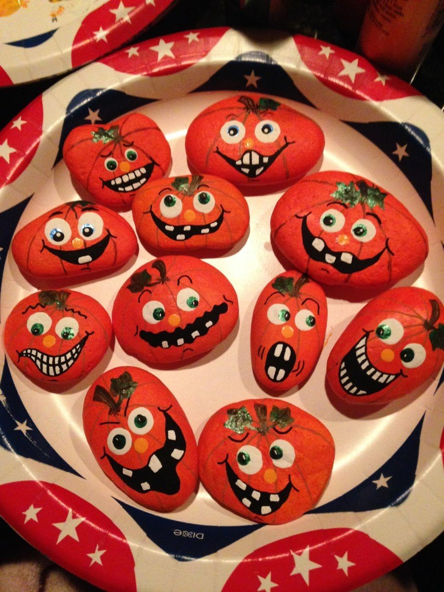 Scary Halloween pumpkin painted rocks
