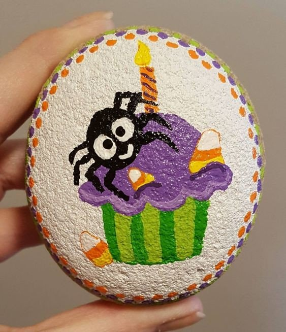 Spider in cake painted rock