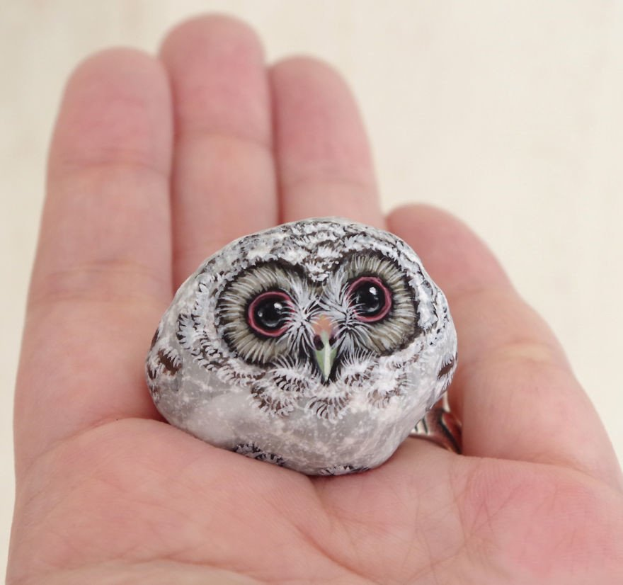 Adorable owl painted rock