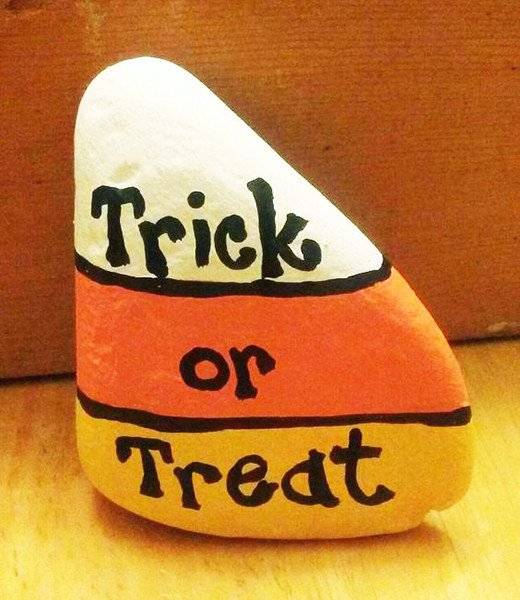 Trick or treat painted rock