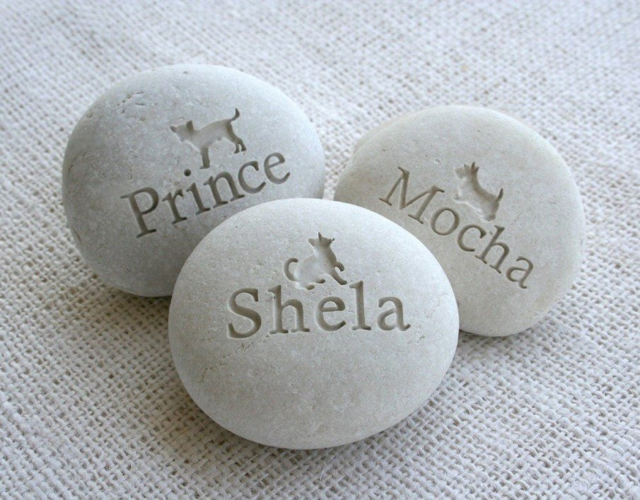 Pet Memorial Stone Ideas - cat and dog names engraved on pebbles