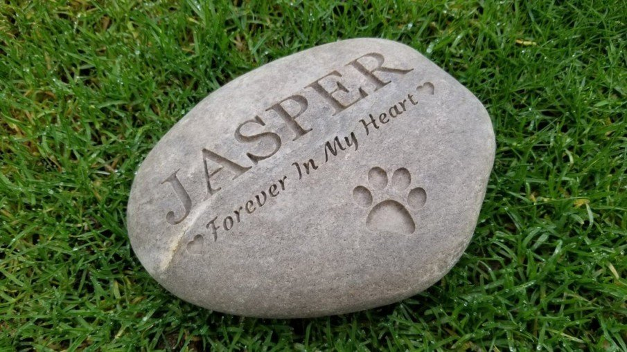 Pet name and paw engraved