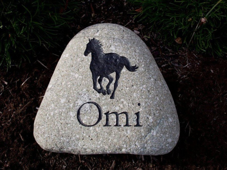 A horse name engraved on a river rock