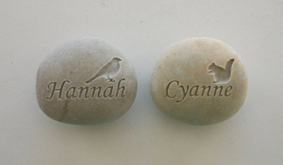 Pet Memorial Stone Ideas - a bird and a squirrel names engraved on pebbles