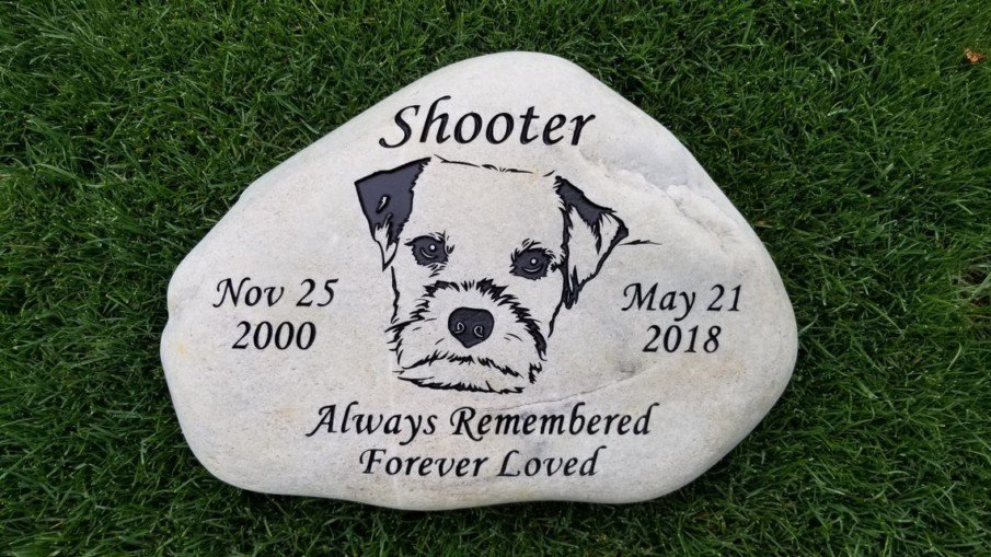 A dog memorial stone idea - engrave its name, dates and a love message