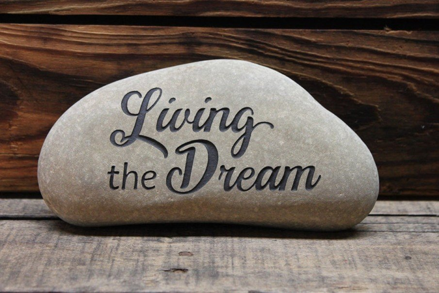 Engraved River Rock Paperweight Idea - Living the dream